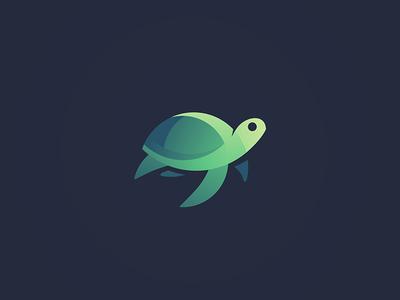 Turtle Mark logo turtle sea creature gradient design animal logos volume 3