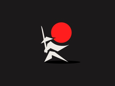 Samurai doodle logo mark japan moon red warrior samurai