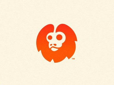 Golden Tamarin Monkey red gradient ape logos design logo monkey tamarin lion golden