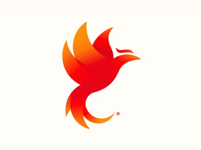 Phoenix Logo fire flame pnix circles geometric anders tom design red gradient logo phoenix
