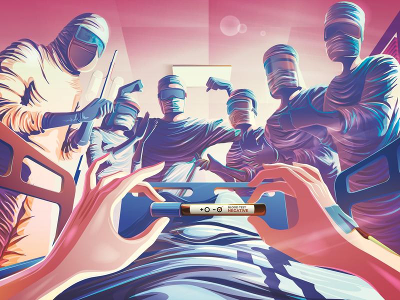 Be Negative idea illustration concept relief negative blood test dedicated medical illustration vector illustration coronavirus encouragement doctor nurse epidemic pandemic covid-19