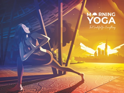 Morning Yoga sunrise urban idea art illustration vectorart pavilion rejuvenation peaceful mind healthy exercise yoga