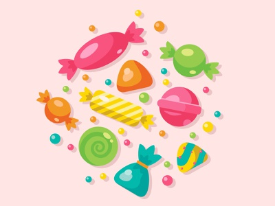 Cute candy and lolipop icons design illustration icon fun tasty lollipop holiday dessert sweet candy
