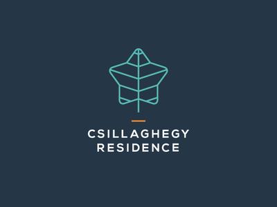 Csillaghegy Residence – Logo Design residence leaf star logo