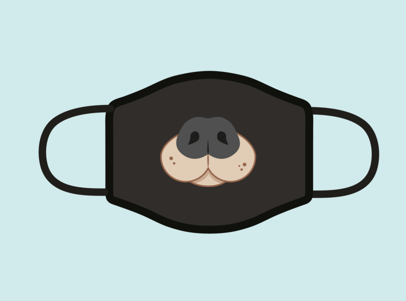 Design For Good Face Mask Challenge covid-19 covid coronavirus dog vector illustration facemask face