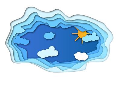 Paper cutout: Sunny Summer Day papercut design vector illustration
