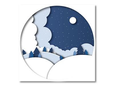 Paper cutout: Snowy Night nature landscape snowfall snow design papercut illustration