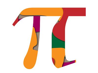 Paper cutout: PI letter letter vector typography papercut