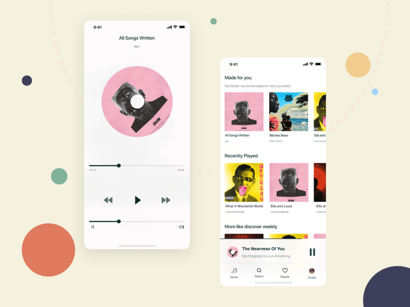 Music Player App clean player round minimal colors music app music player music redesign user interface user experience application uidesign mobile ux ui design app