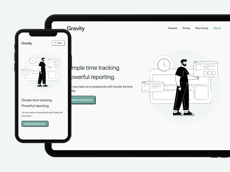 Landing Page Hero for Time Tracking Software responsive design responsive trendy saas landing page saas website saas web design website web landing page redesign user interface user experience application uidesign mobile ux ui design app