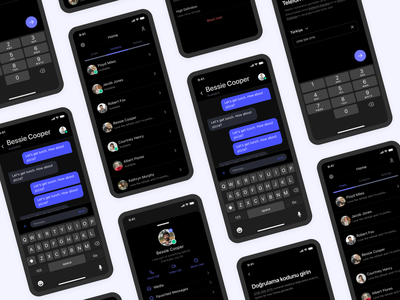Messaging Application UI Design - Dark Mode chatting app chat telegram whatsapp messaging message application user experience mobile app free user interface ux uidesign ui design
