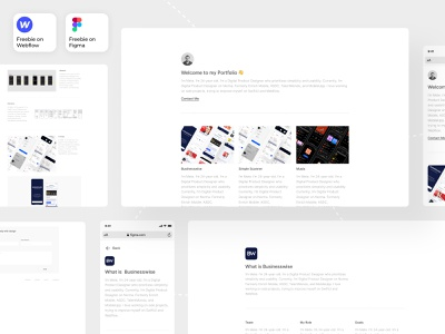 Freebie Portfolio Template on Figma and Webflow figma webflow freebies freebie free portfolio website portfolio site portfolio design portfolio redesign application user experience mobile app ux user interface uidesign ui design