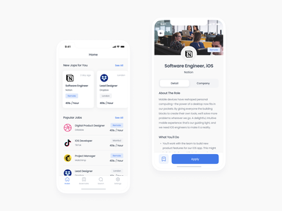 Jop Searching App freebie free blue find search job clean white inspiration minimal redesign application user experience app ux user interface uidesign ui design mobile