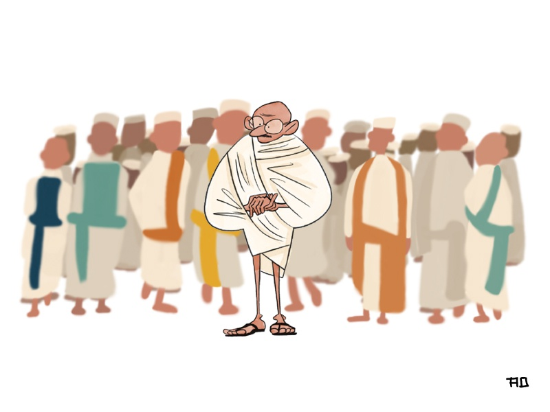 Gandhi photoshop illustration design concept cartoon character design art character gandhi