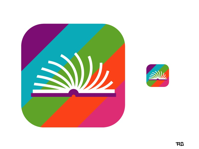 Booky Wooks Header simple illustrator flat app icon icon clean branding ios app