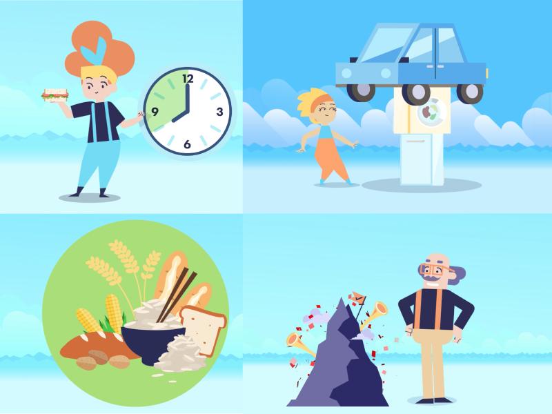 Movabl app screenshots simple illustrator flat design character clean branding animation app