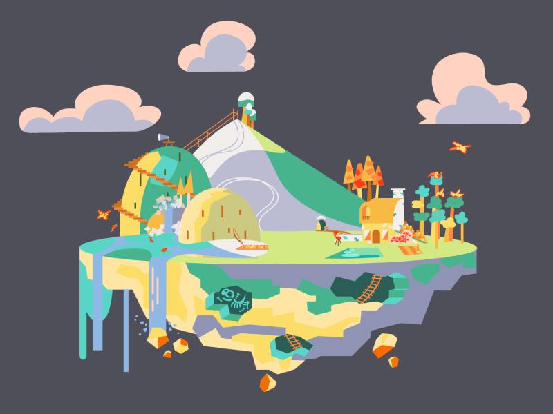 Island illustrator clouds yellow green flat lake mountain skeleton dinosaur house island background