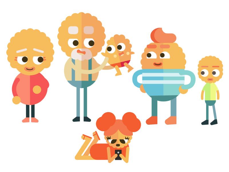 Crackers simple illustrator flat design character orange clean branding header animation