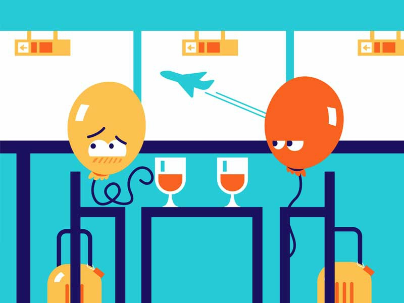 Balloon date character illustrator flat embarrassing airport blue orange fun balloon simple animation