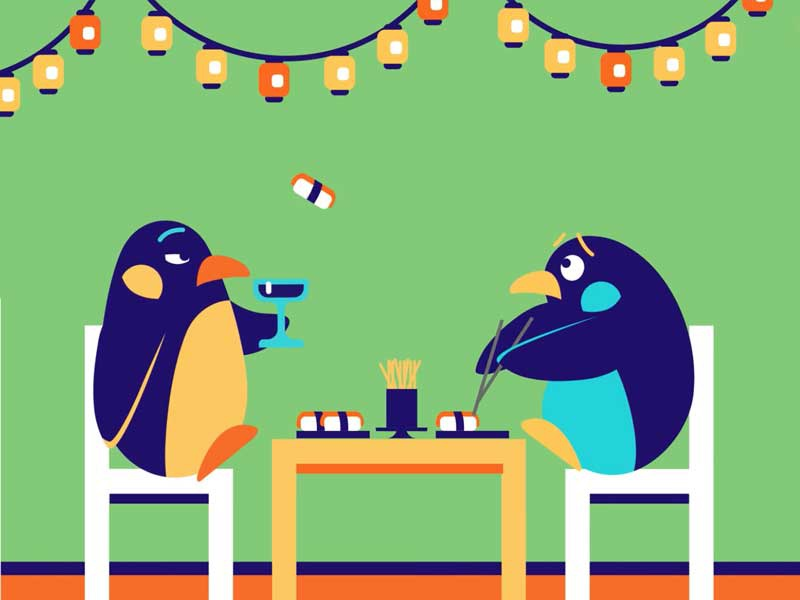 Penguin date orange navy green date penguin sushi simple illustrator flat character clean design