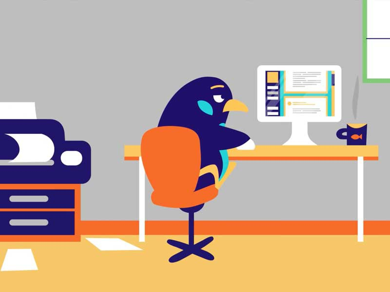 Office penguin penguin paperwork bored office simple illustrator flat design character clean animation
