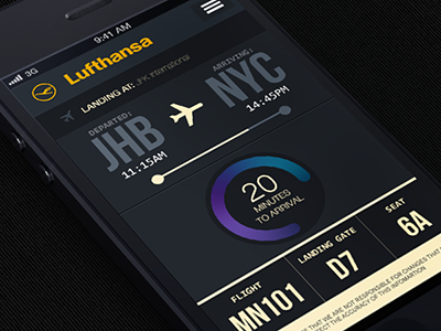 Lufthansa flight tracker mobile app design airline plane ui ux