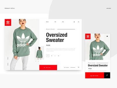 Adidas Product Detail Page design ux design ui ecommerce invision studio web design invisionstudio