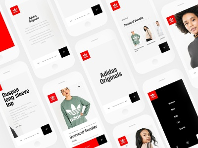 Adidas Originals Ecommerce app screens landing page ecommerce app adidas ux design ui web design invision studio invisionstudio design