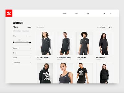 Adidas Originals Category page ux design ux ecommerce adidas web design invision studio invisionstudio ui design