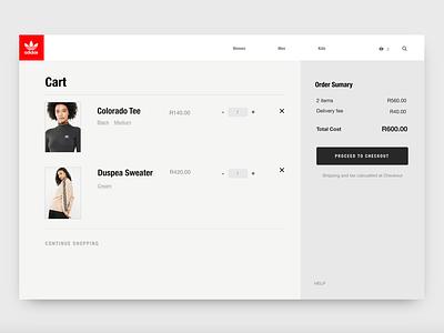 Adidas Shopping cart ecommerce web design ux design invisionstudio invision studio ui design