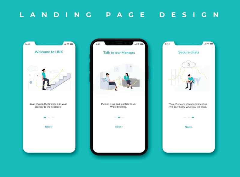 Onboarding Page Design vector minimal ui ux illustration design onboarding mobile ui landing page design landingpage