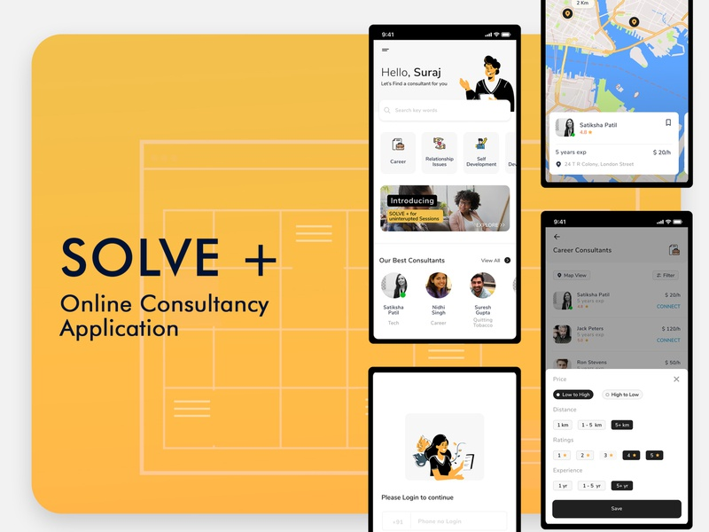 Online Consultancy App onboarding illustration illustration landingpage uxdesign product design landing page design ui minimal mobile ui design