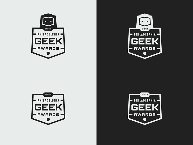Logo Update logo branding philadelphia geek awards robot