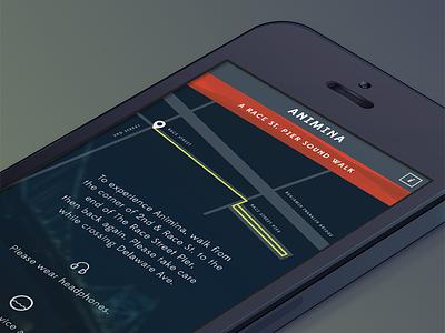 Animina iphone ios app sound walk animina race street pier philadelphia ui interface