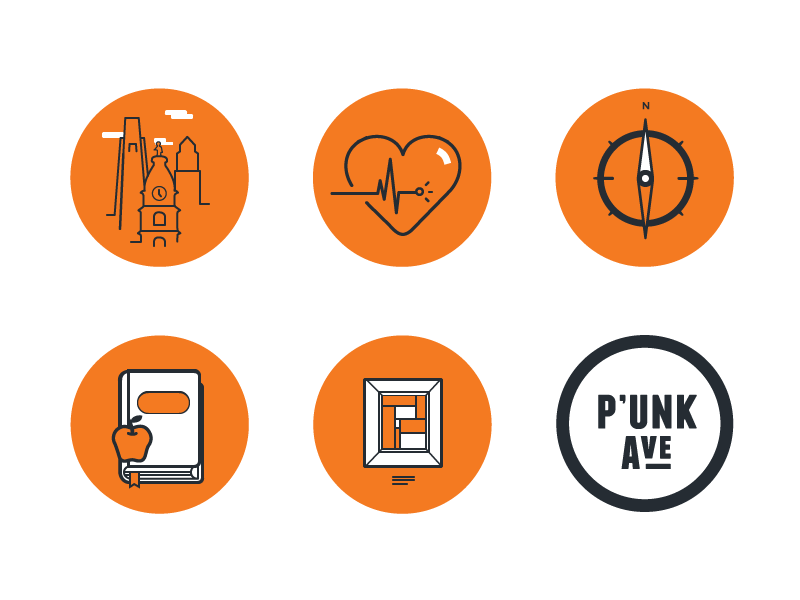 Case Study Badges illustration badge icon urbanism wellness purpose education art culture