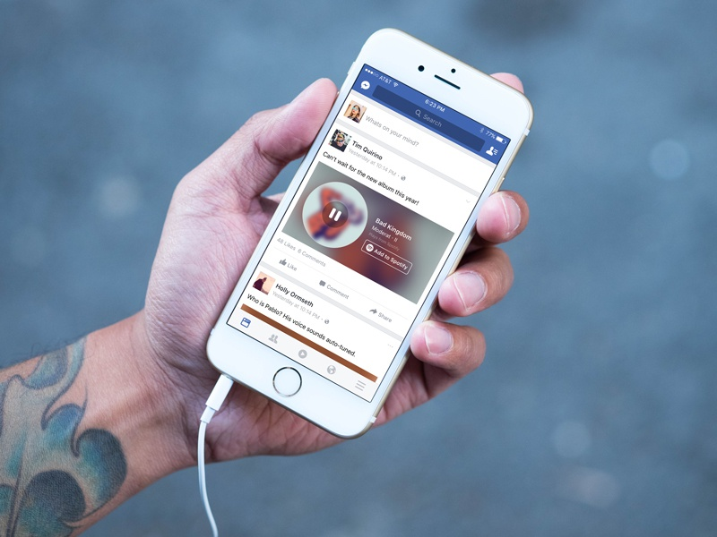 Facebook Music Stories streaming play spin music facebook