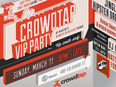 SXSW Flyer for Crowdtap typography flyer illustrator 3d
