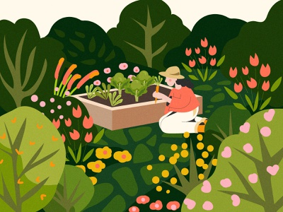 Victory Garden digital illustration spring garden adobe illustrator illustration