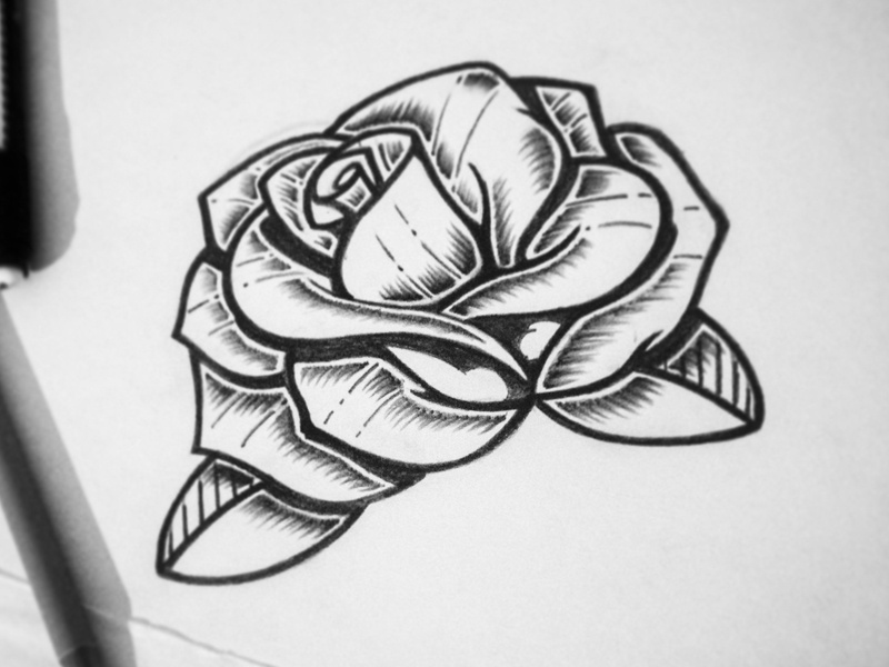 Rose Tattoo Sketch By Gerardo Caballero Dribbble Dribbble
