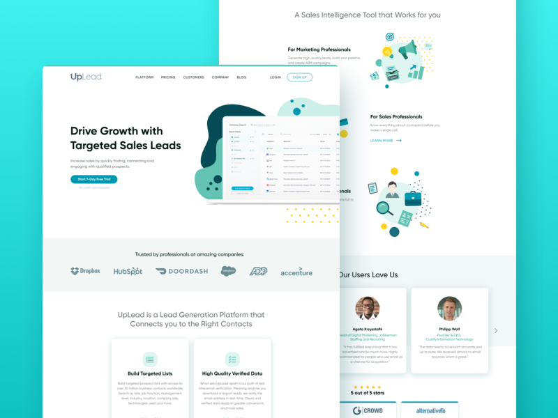 B2B Web Design | UpLead visual styleguide ui kit gui landing page wordpress website business email growth saas software marketing sales ux ui web development web design b2b