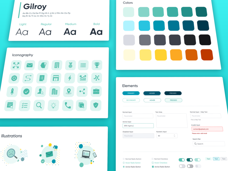 Brand Style & Design System | UpLead visual styleguide ui kit gui landing page wordpress website business email growth saas software marketing sales ux ui web development web design b2b