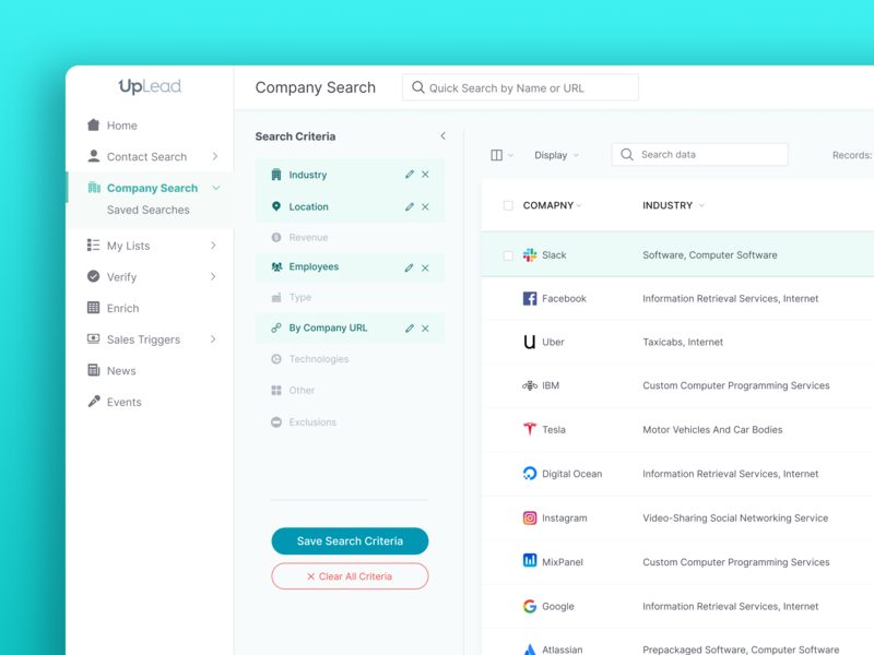 Company Search | UpLead app web app visual styleguide ui kit gui landing page wordpress website business email growth saas software marketing sales ux ui web development web design b2b