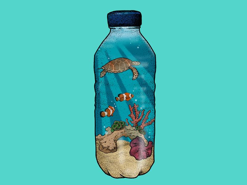 A Plastic Ocean environment art illustration editorial illustration editorial