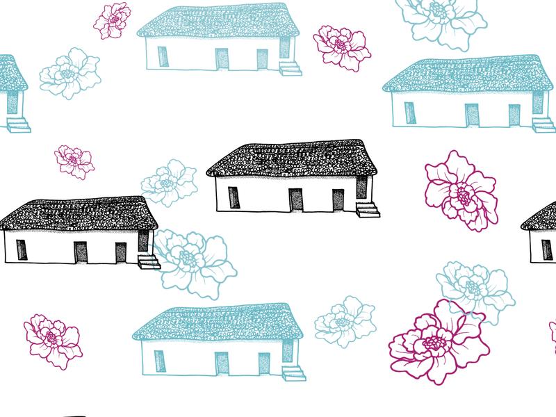 Welsh Cottage Pattern hand drawn stippling pointilism dotwork pink blue st fagans wales welsh greeting card gift bag editorial illustration floral background home house cottage floral design floral art flower floral