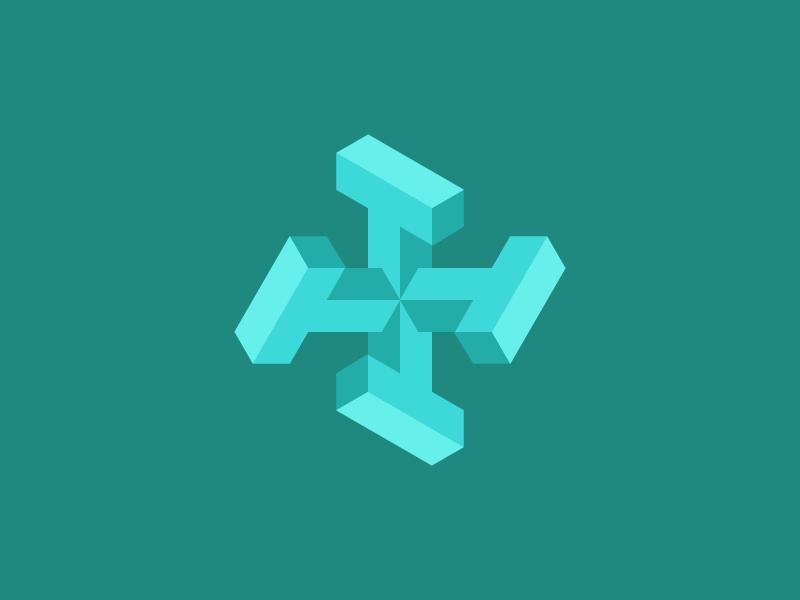 Isometric 4T Logo mark minimal type vector symbol typography logo design logo isometric illustration font design creative brand branding green adobe