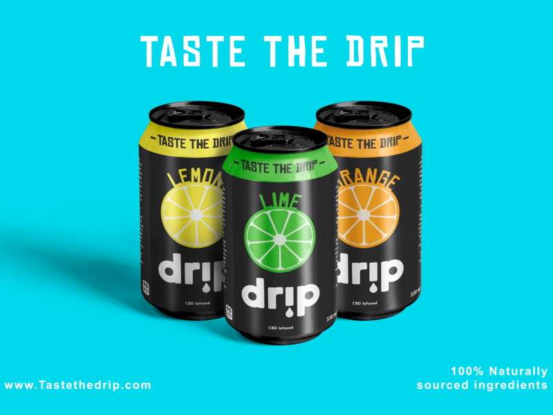 'Drip' Product & Logo Design graphic design illustrator fruit mockup typogaphy logo design photoshop soda can product design clean designer brand design creative vector logo branding