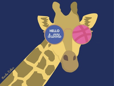 Hello Dribbble, I'm Anna! flat design flat debut first shot vector visual sunglasses giraffe illustration