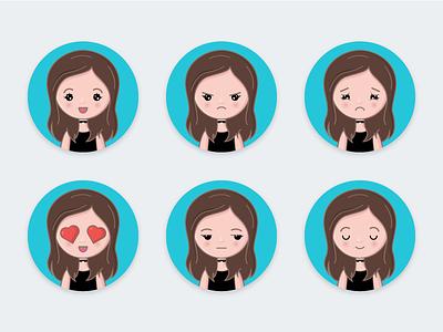 Girl Avatars emotions icon vector illustration character girl avatar avatar