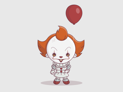 Pennywise red balloon halloween evil illustration vector character icon it the dancing clown pennywise