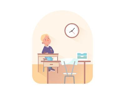 Stop wasting schooltime! illustration clock desk teacher time school student classroom class